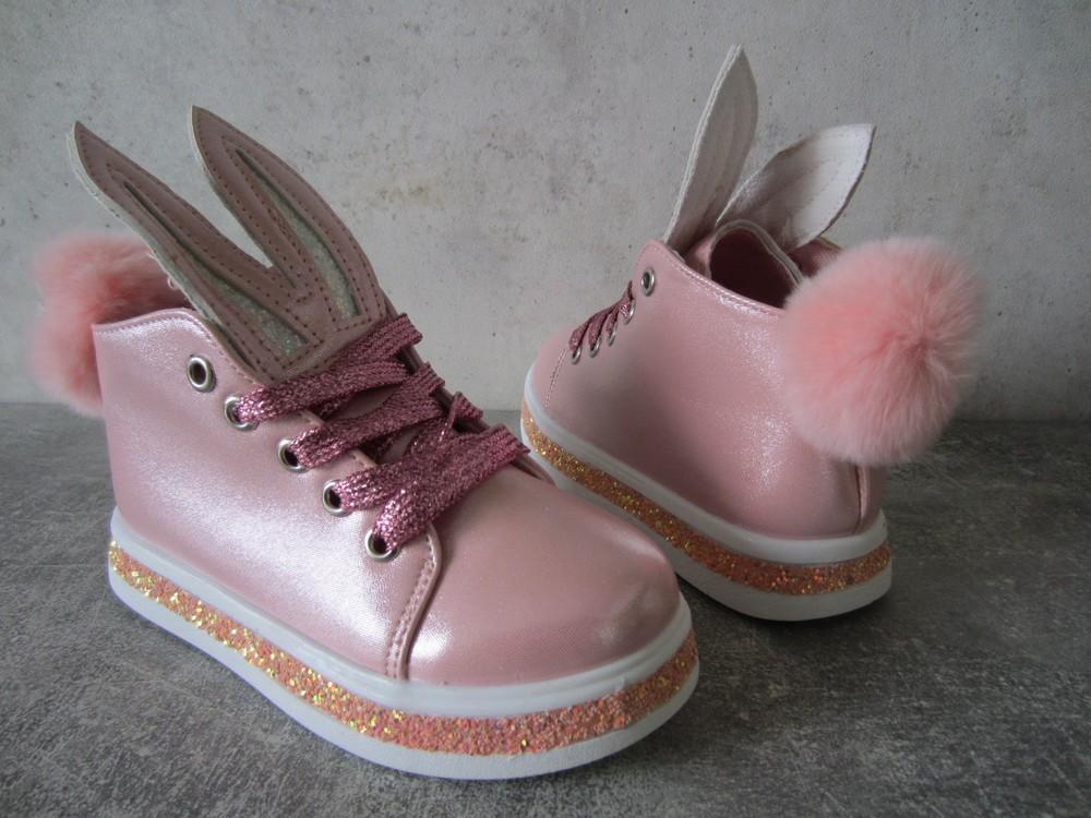Розовые весенние ботиночки зайчики 26 р на 15,5 см  фото №1