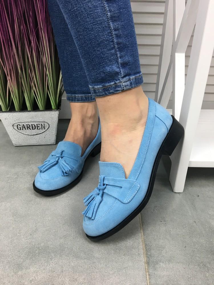 Женские замшевые туфли s20, голубые фото №1