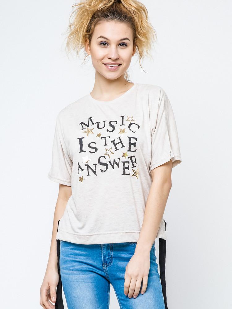 17-113 женская футболка с надписью music is the answer фото №1