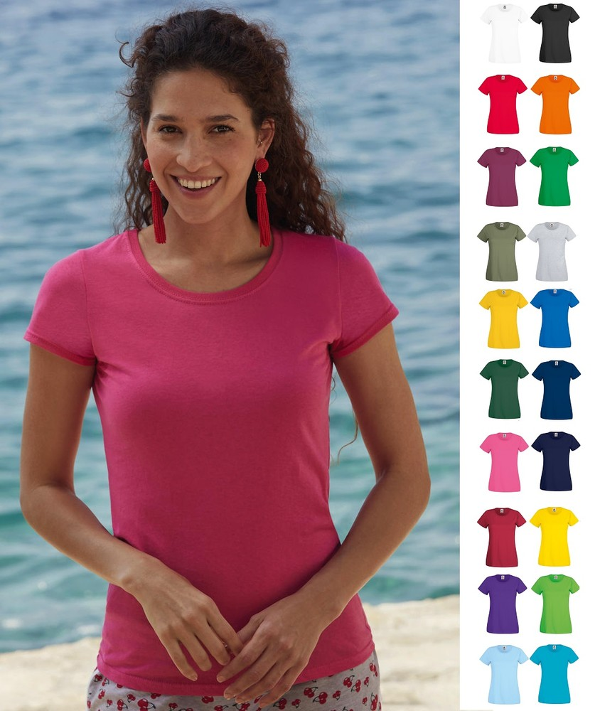 Женская футболка тонкая 100% хлопок легкая fruit of the loom original t фото №1