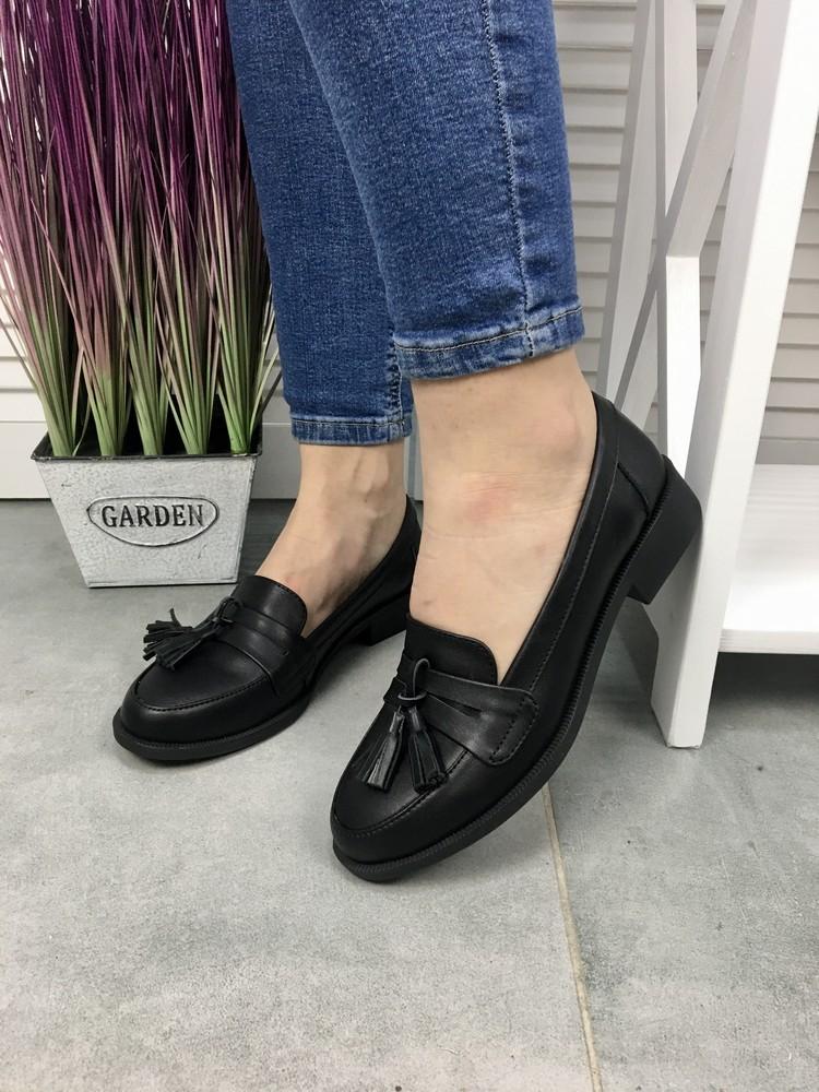 Женские кожаные туфли, черные фото №1