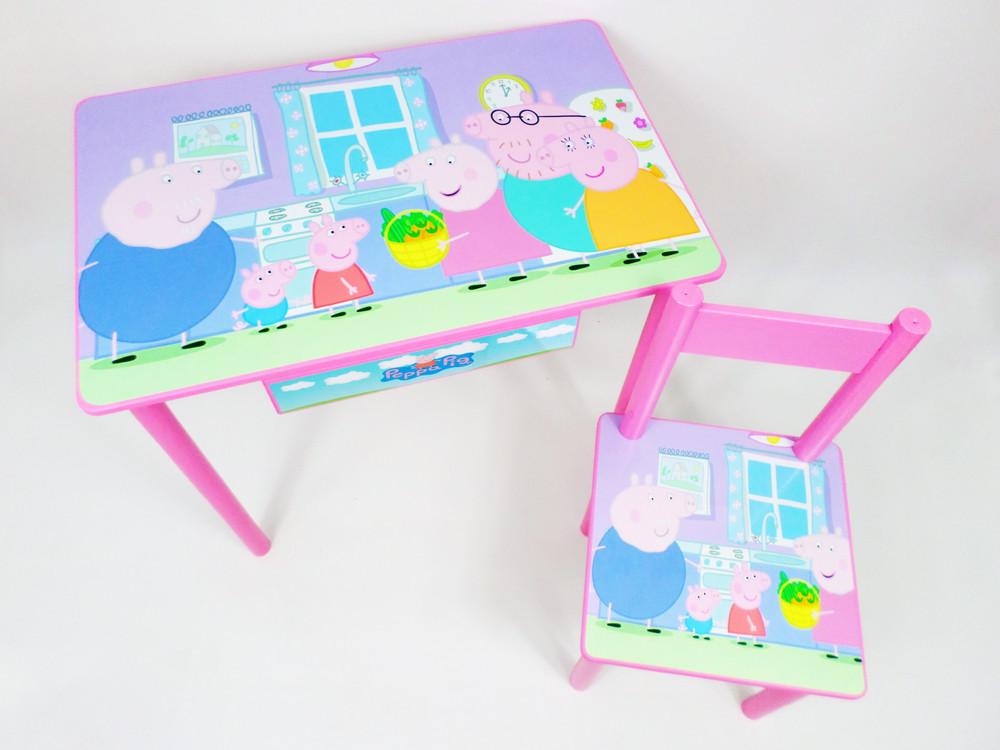 """Детский игровой столик для творчества """"свинка пеппа"""" стол и стул (много вариантов) фото №1"""