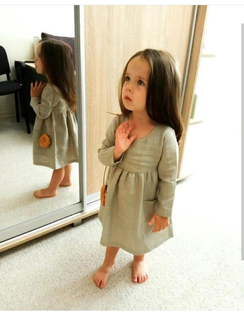 Лляні сукні, плаття 92-98 см, біла 86-92 см фото №1