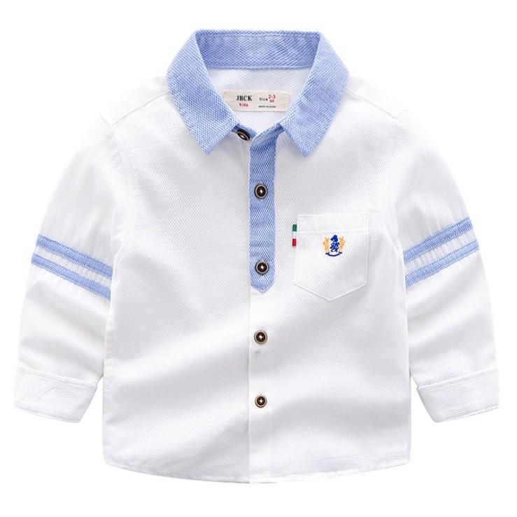 Красивая рубашка для мальчика белая, голубая р 90-130 фото №1