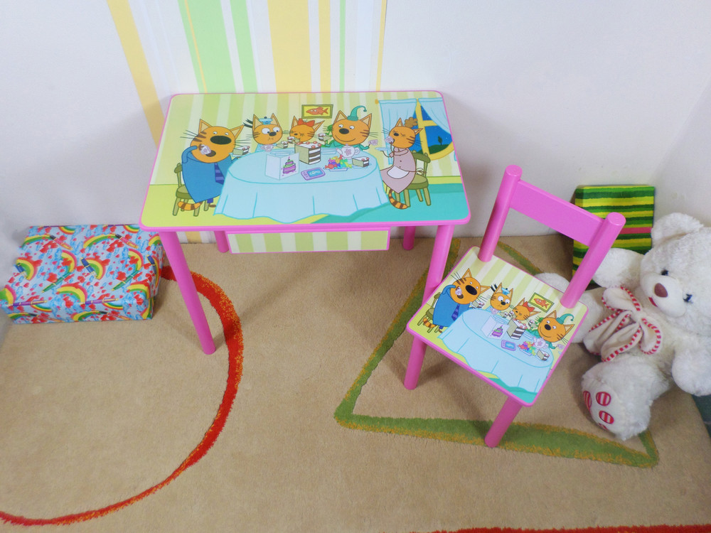 """Детский игровой столик для творчества """"три кота"""" стол парта и стул фото №1"""