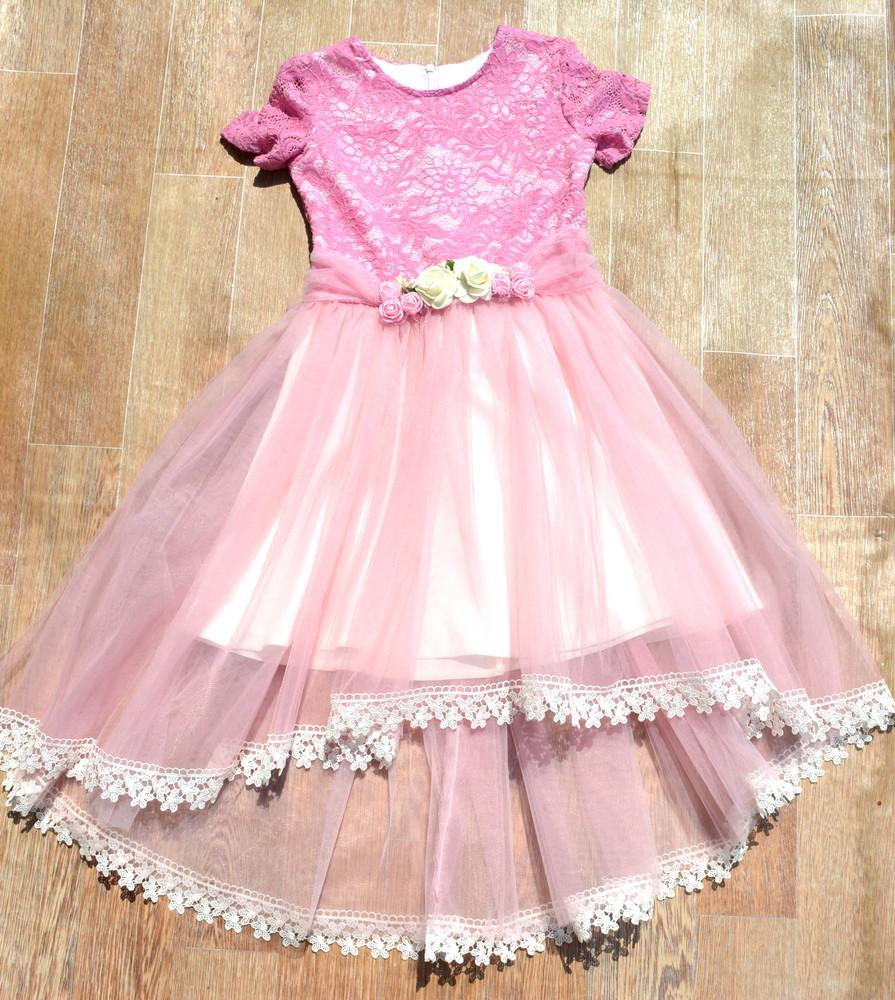 Нарядное розовое платье для девочки 5-8 лет фото №1