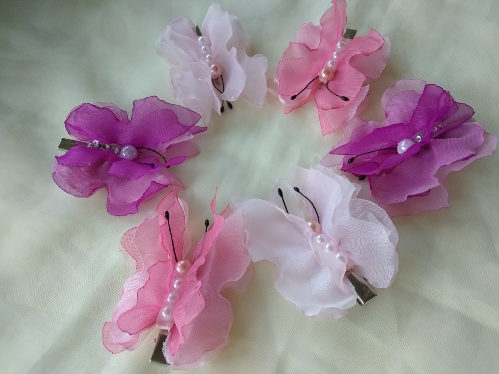 Красивые заколкибабочки,  метелики из шифона и атласных лент фото №1