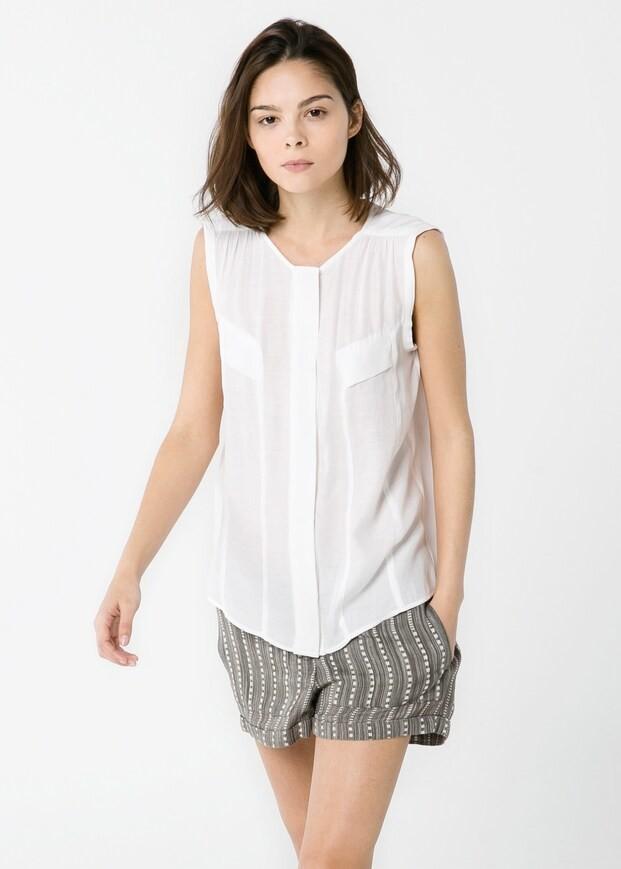 Базовая белая блуза с большими карманами mango, xs фото №1