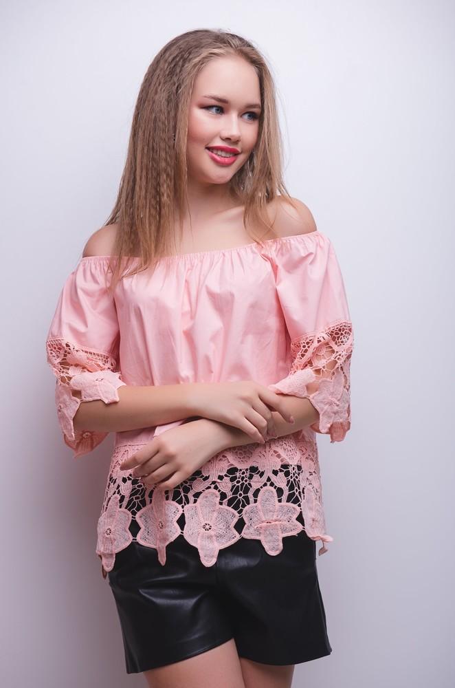 Блузка с кружевом ( мятный, светло-желтый, белый, голубой, розовый) фото №1