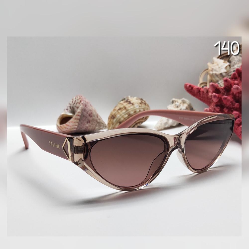 Стильні жіночі окуляри лисички дужка пудра фото №1