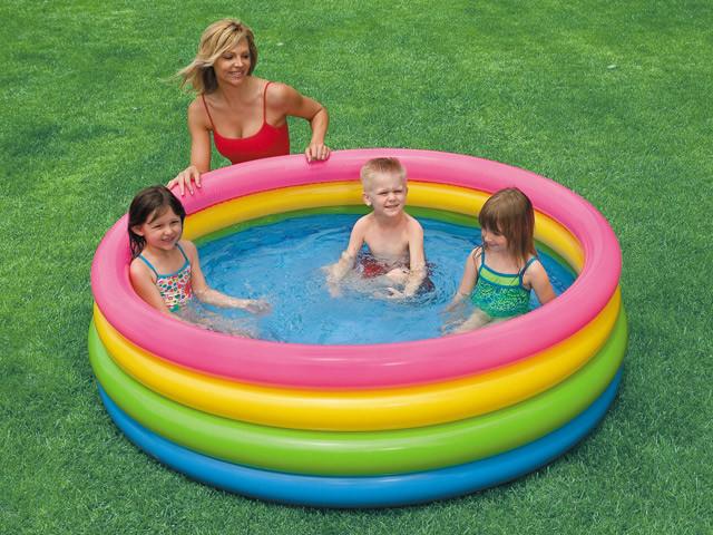 Детский надувной бассейн intex 56441 «радуга», 168 х 46 см фото №1