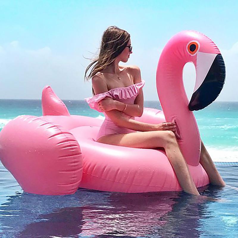 Огромный круг розовый фламинго 150см фото №1