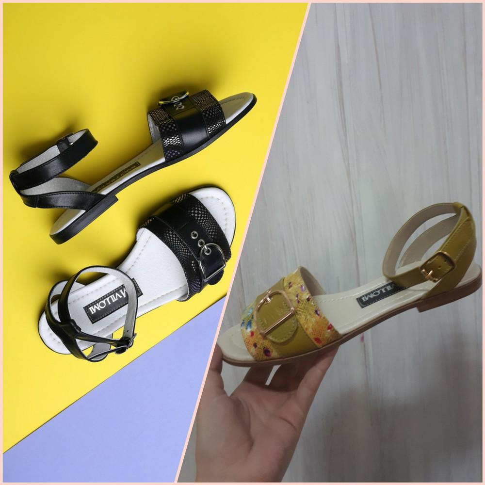 Кожаные  босоножки c ремешком на низком ходу, босоножки кожа, черные и горчичные фото №1