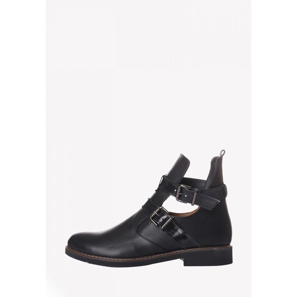 Черные кожаные  туфли ботинки на низком ходу с двумя пряжками, кожанатуральная фото №1