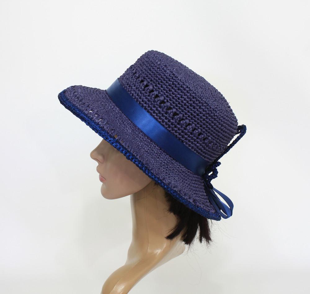 Шляпка ′вечер′ из натуральной рафии. фото №1
