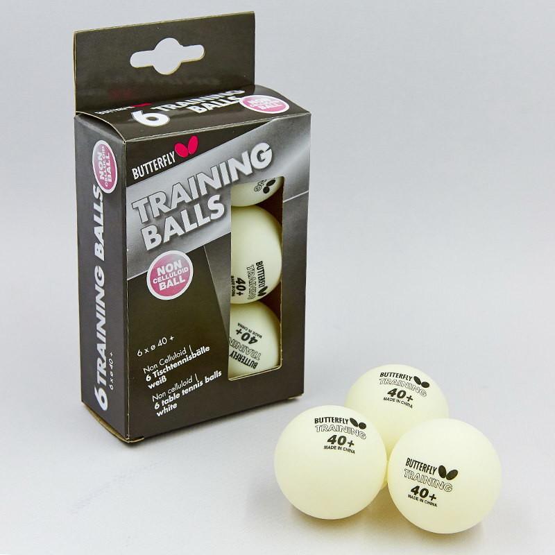 Набор мячей для настольного тенниса butterfly training 85140: 6 мячей в комплекте фото №1