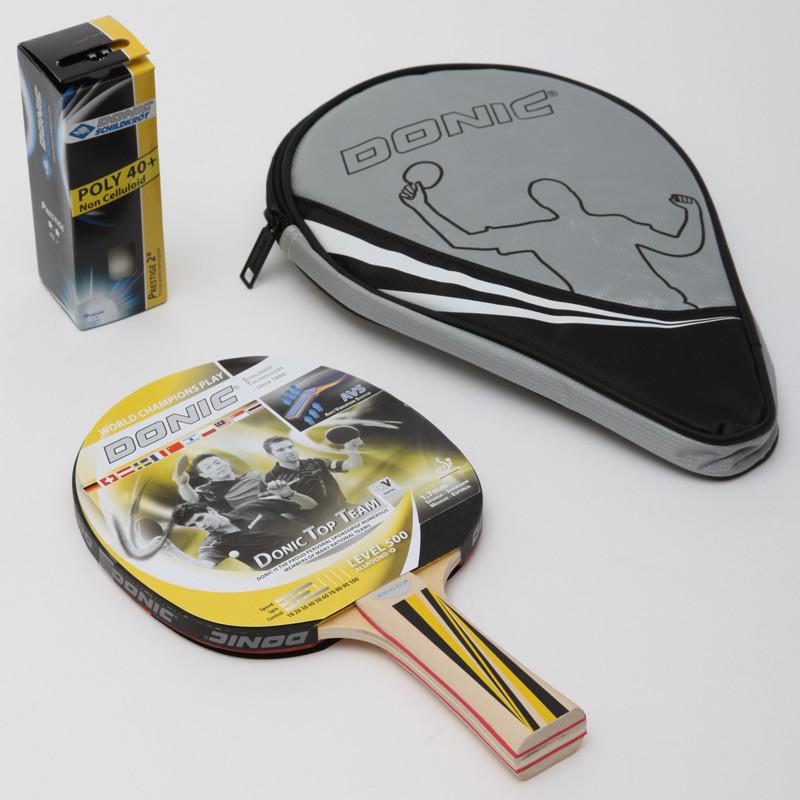 Набор для настольного тенниса donic level top team 500 788480 с чехлом: 1 ракетка + 3 мяча фото №1