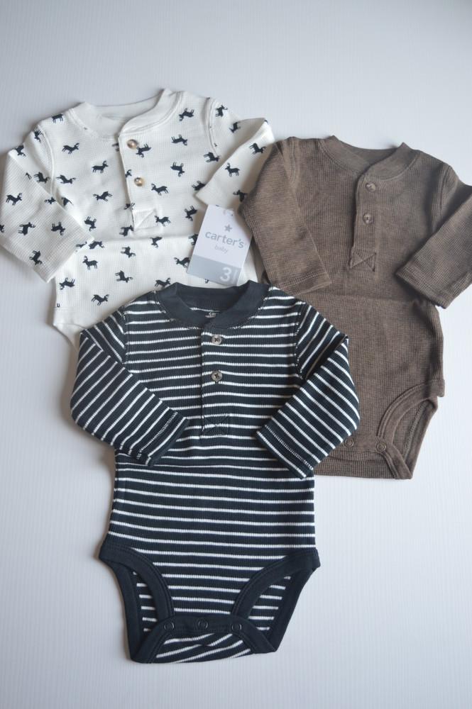 Набор теплых бодиков для малышей carter's, размер в наличии 3 мес. фото №1