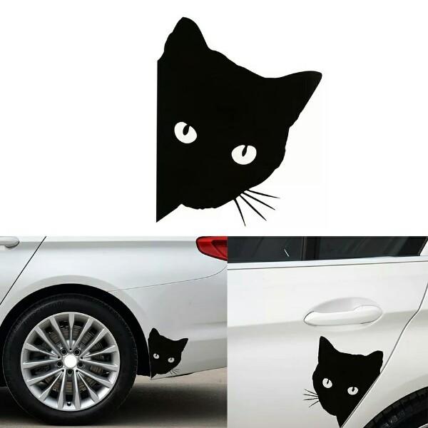 Наклейка на авто с котом графический авто стикер на автомобиль фото №1