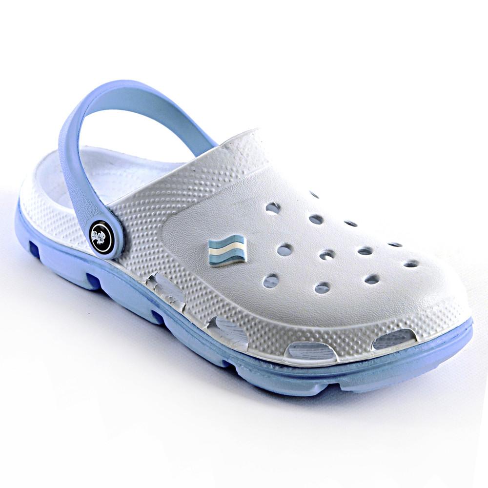 Кроксы белые с голубым аналог crocs 36-41 фото №1