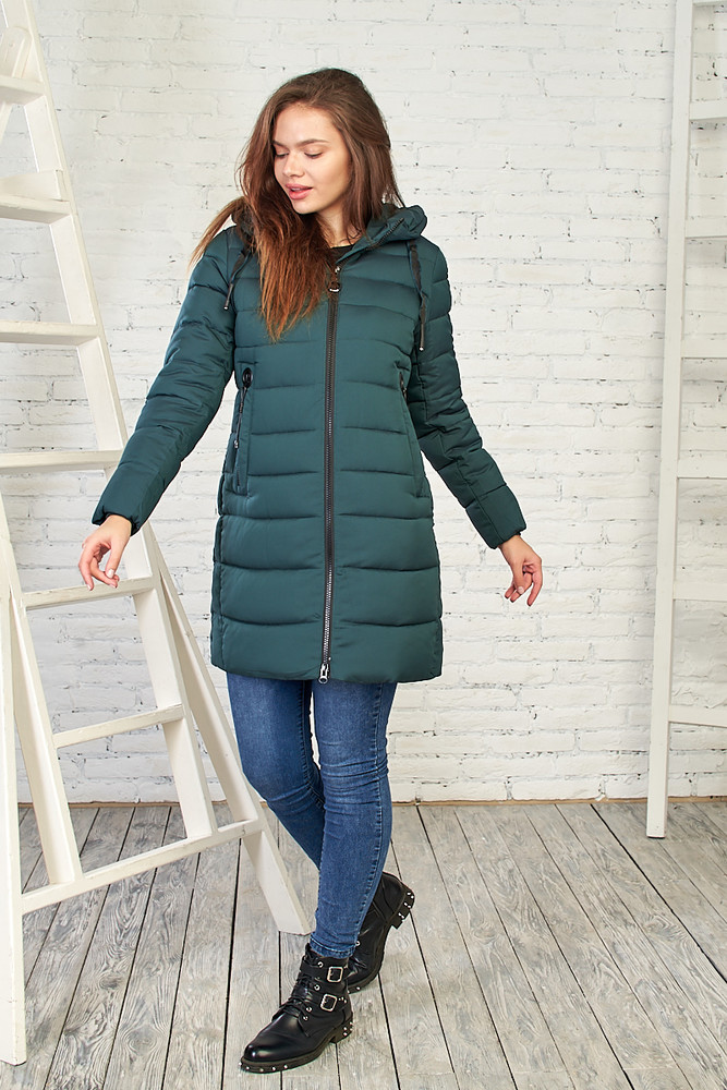 Стильная женская куртка на зиму, 28216 темно-зеленый фото №1