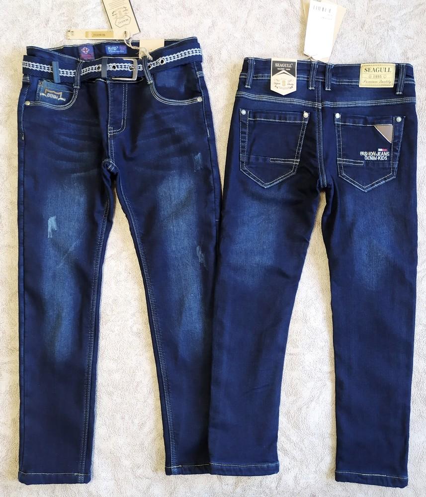 Теплые стильные джинсы на флисе для парней фото №1