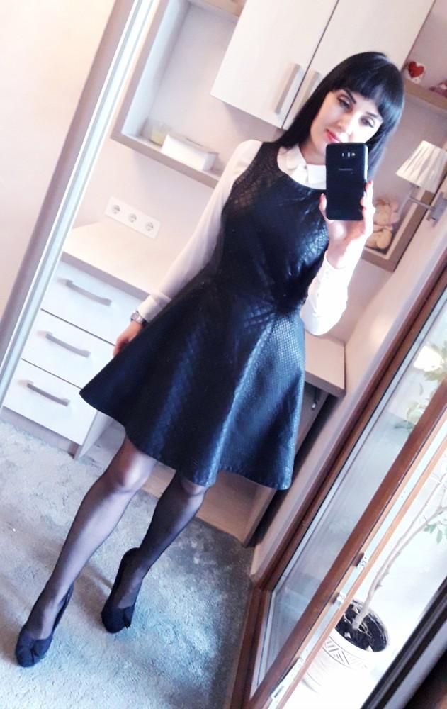 Topshop кожаное платье колокол фото №1