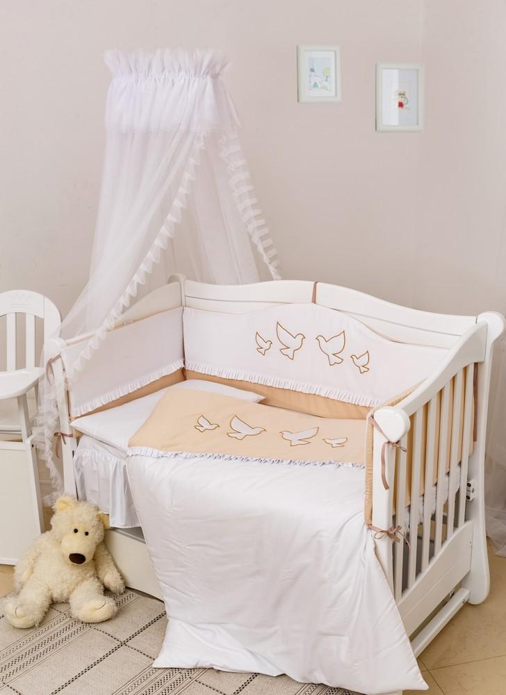 Сатиновый набор постельного в кроватку с балдахином птички 8 пр. фото №1