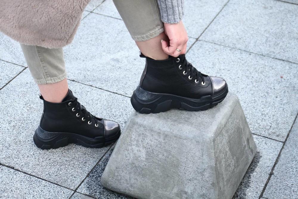 Кожаные зимние ботинки на платформе, ботинки платформа кожа зима фото №1