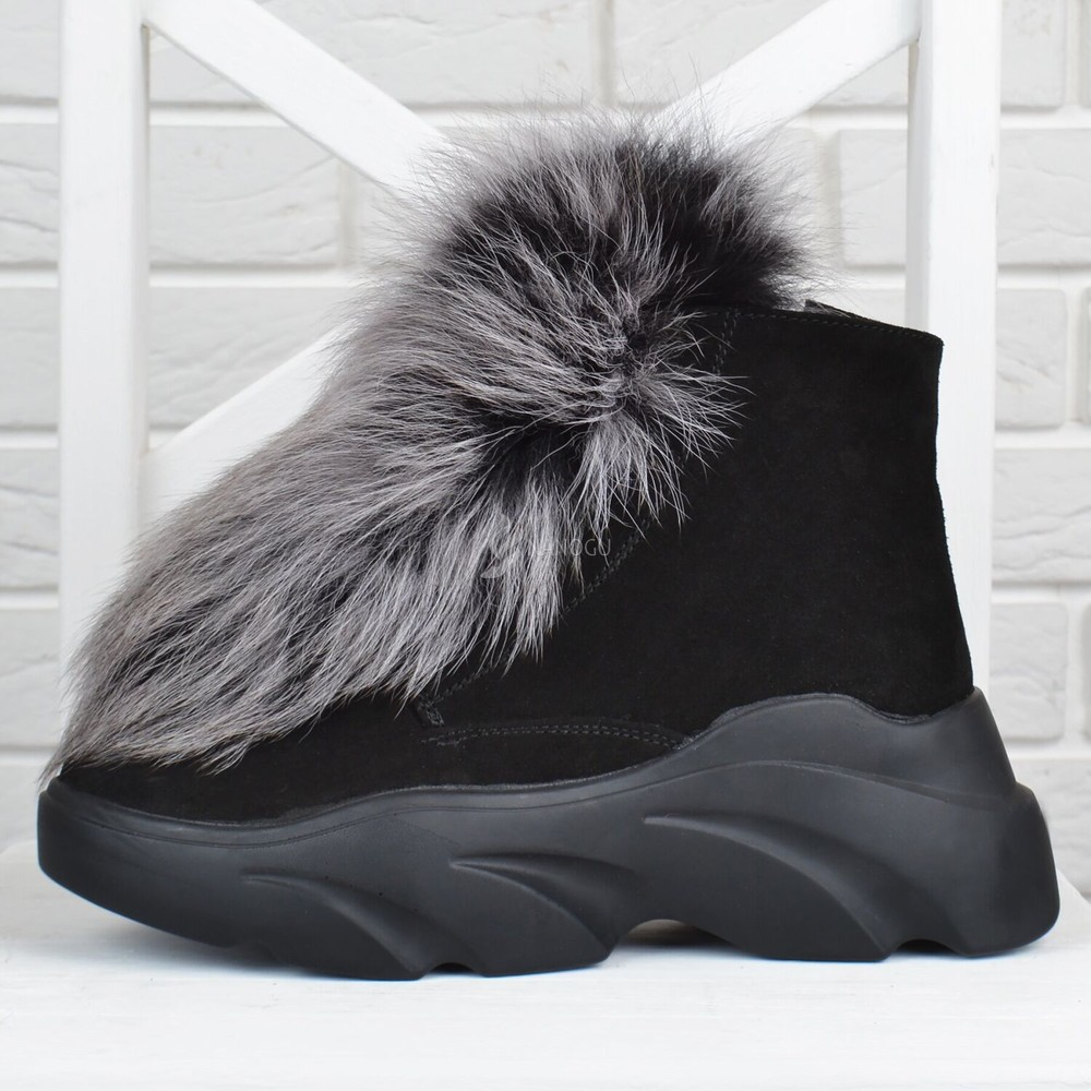 Vip ботинки женские зимние замшевые на платформе queen песцовый мех на овчине фото №1