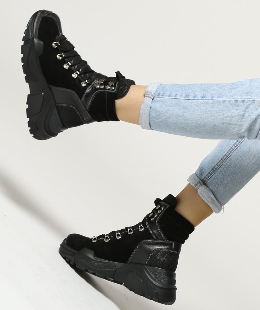 Теплые замшевые зимние ботинки на толстой платформе и шнуровке, ботинки замша зима фото №1