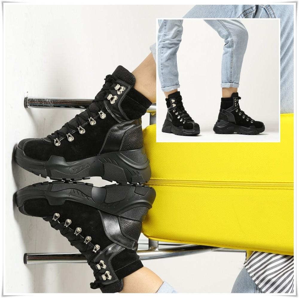 Распродажа бомбезные зимние спортивные замшевые ботинки на платформе, замша фото №1