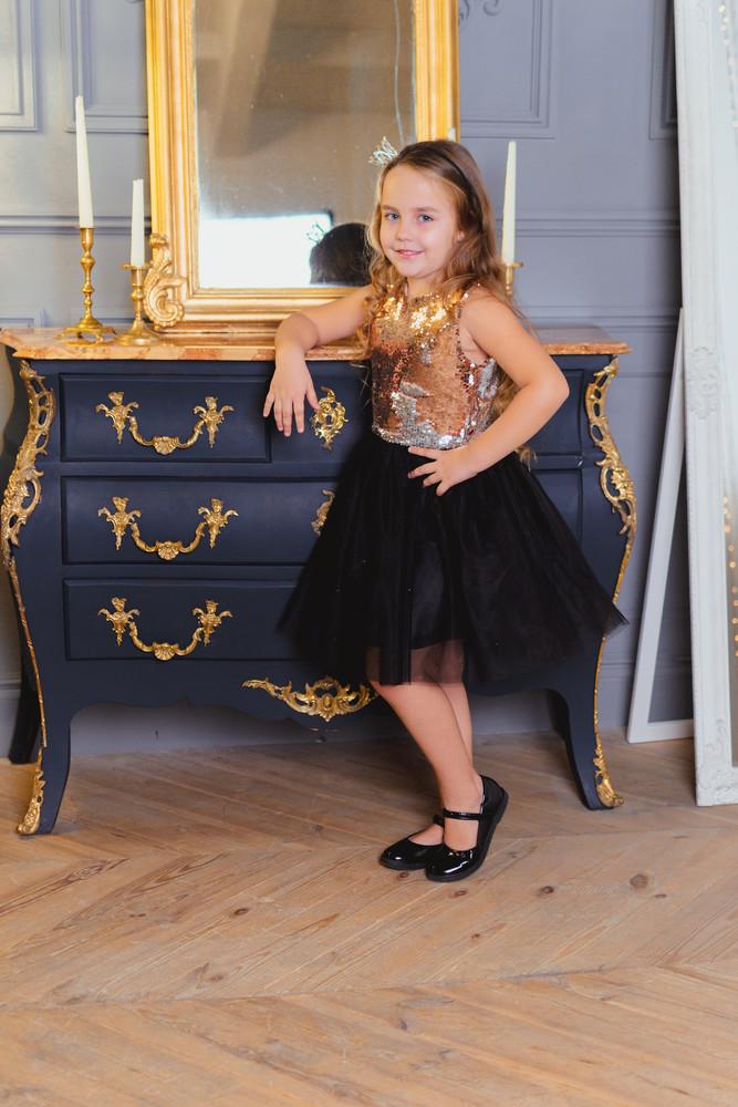 Шикарное платье паетка перевертыш от производителя 104-134 фото №1