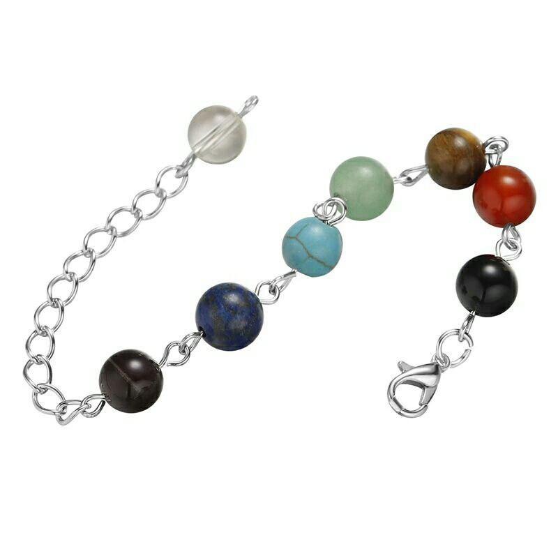 Яркий радужный браслет из натуральных камней 7 цветов йога браслет фото №1