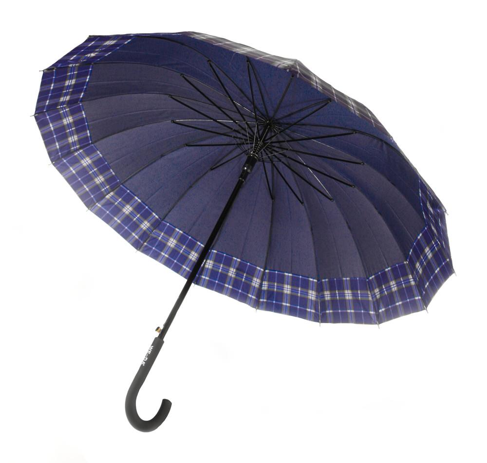 Зонт-трость, полуавтомат, 16 спиц, синий фото №1