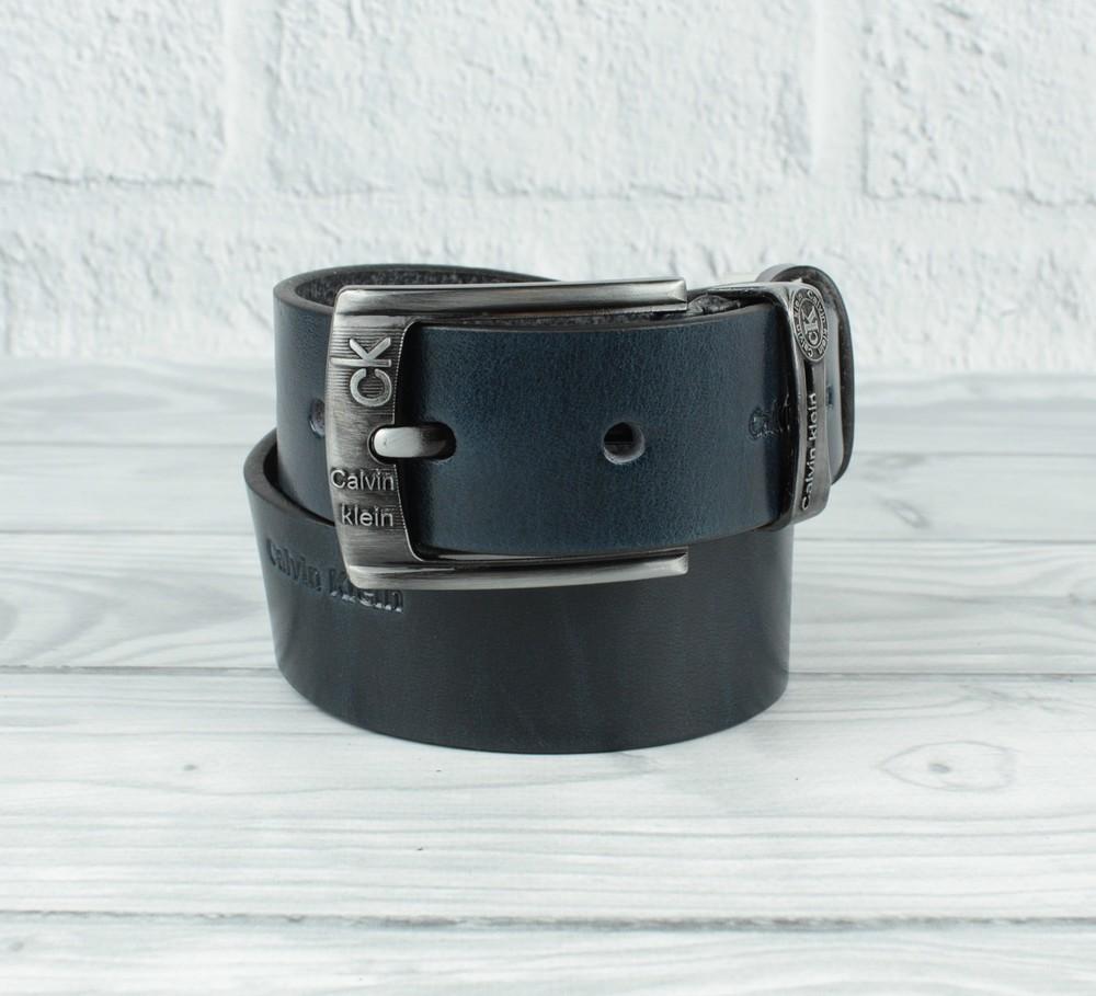 Кожаный ремень под джинсы calvin klein (копия) 8008-421 синий 40 мм, итальянская кожа фото №1