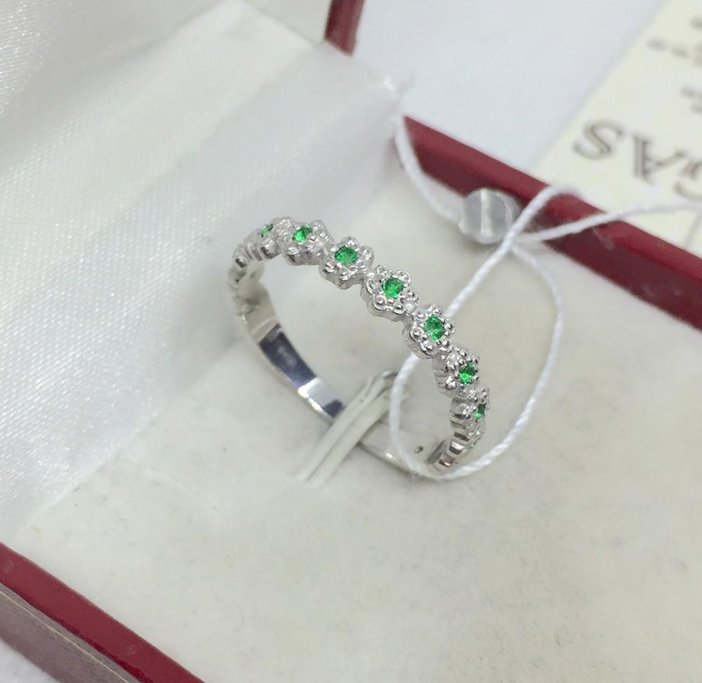 Новое родированое серебряное кольцо куб.цирконий серебро 925 пробы фото №1