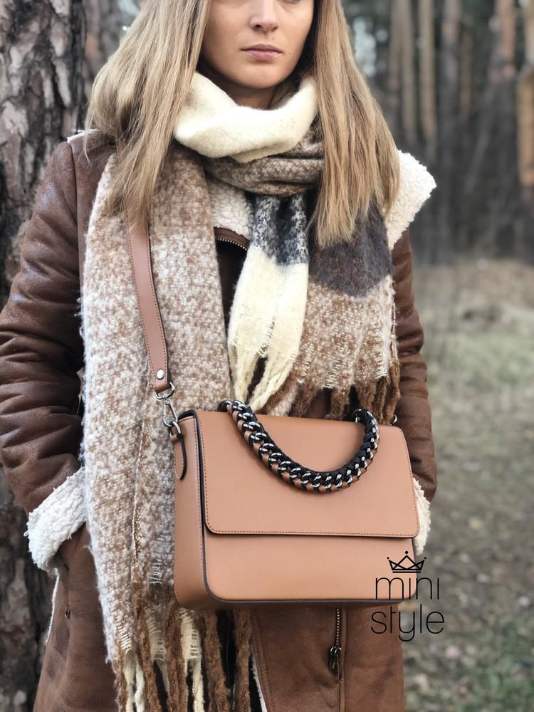 Кожа кожаная сумка на ручке цепочке cross-body сумочка трендовая и стильная кроссбоди фото №1