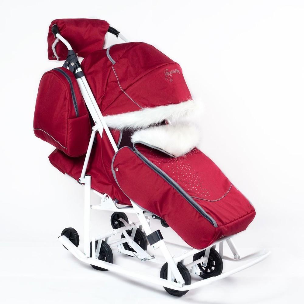 Санки-коляска снеговик со стразами фото №1