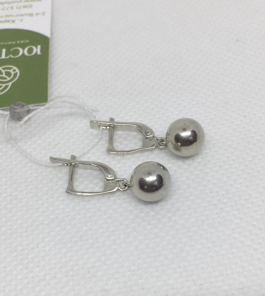 Новые родированые серебряные серьги шарики 8 мм серебро 925 пробы фото №1