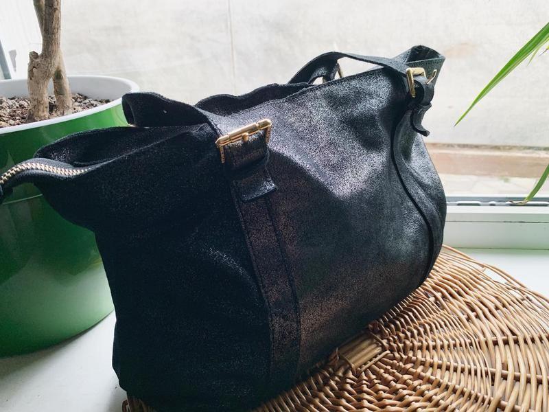 Кожаная сумка с серебристым напылением paul&joe sister фото №1