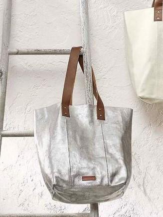 Сумка шопер с напылением серебро white stuff silver фото №1