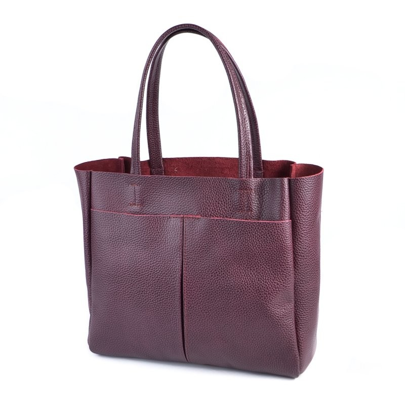 Бордовая деловая сумка из натуральной кожи на плечо фото №1