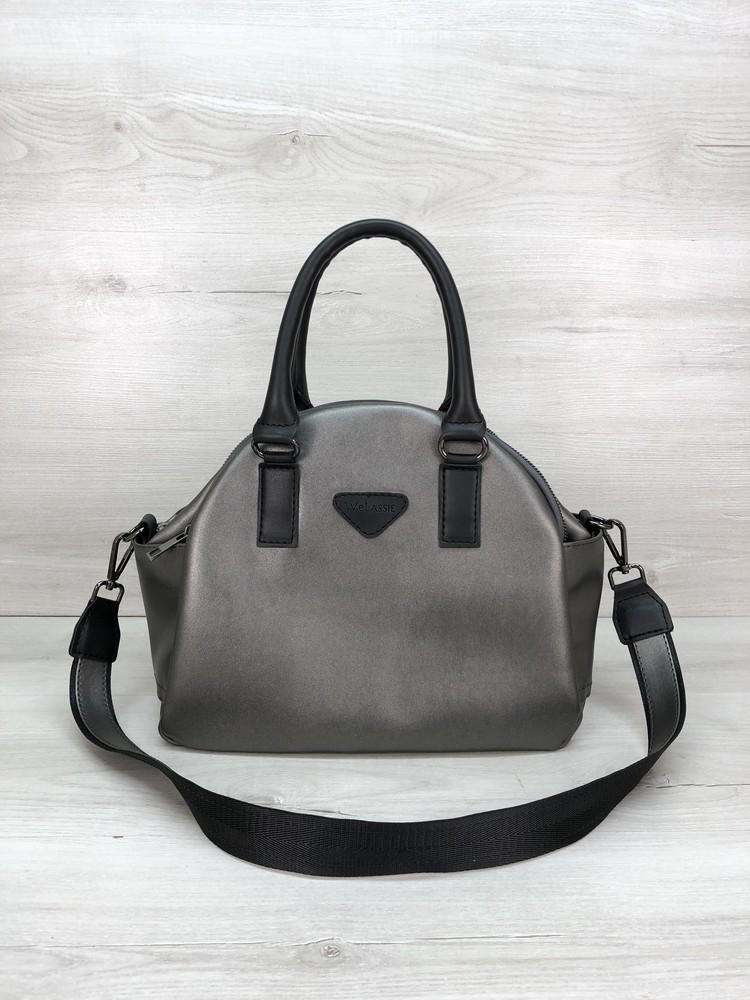 Удобная женская сумка на три отделения черная серебристая фото №1