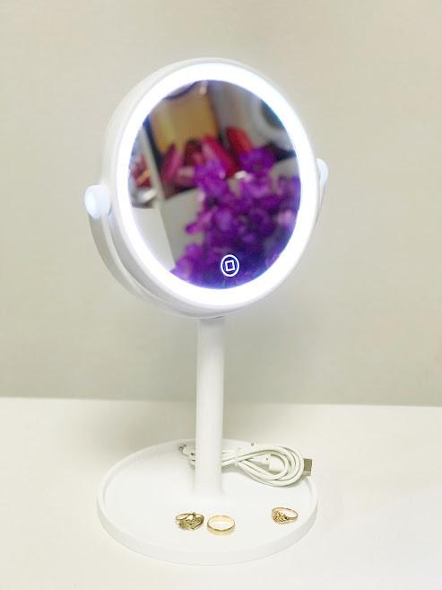 Косметическое круглое зеркало с подсветкой,белое фото №1
