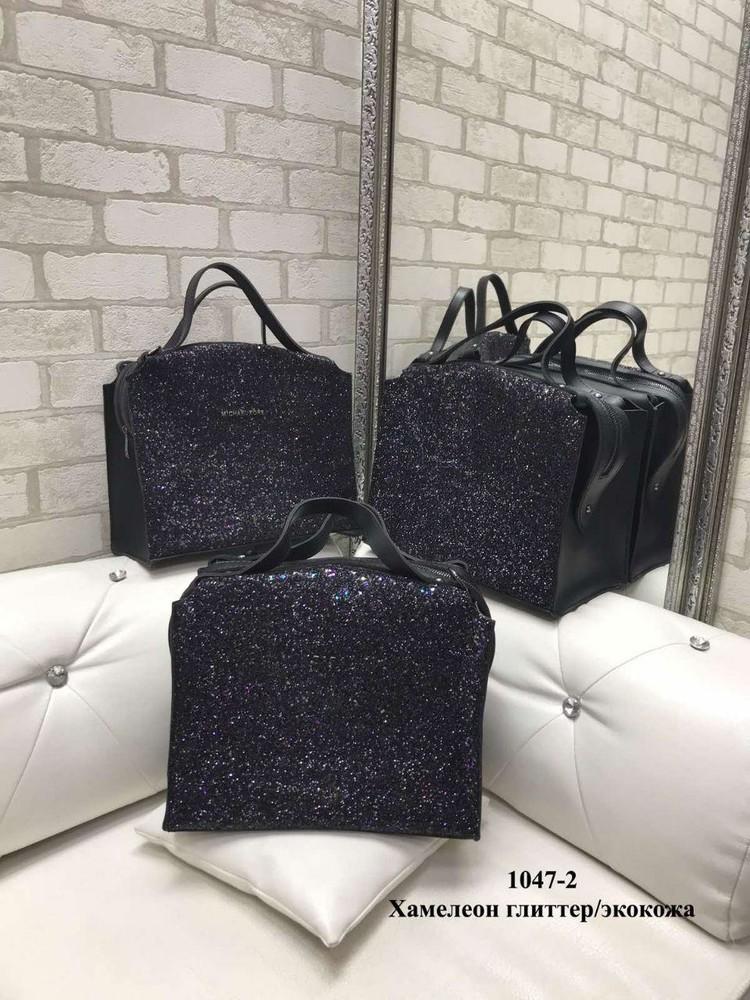 Женская сумка глиттер и эко-кожа удобная и вместительная фото №1