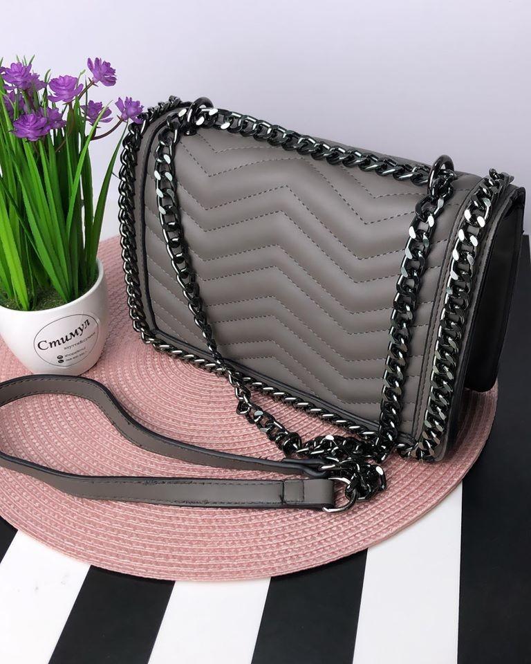 Женская сумка - клатч серая фото №1