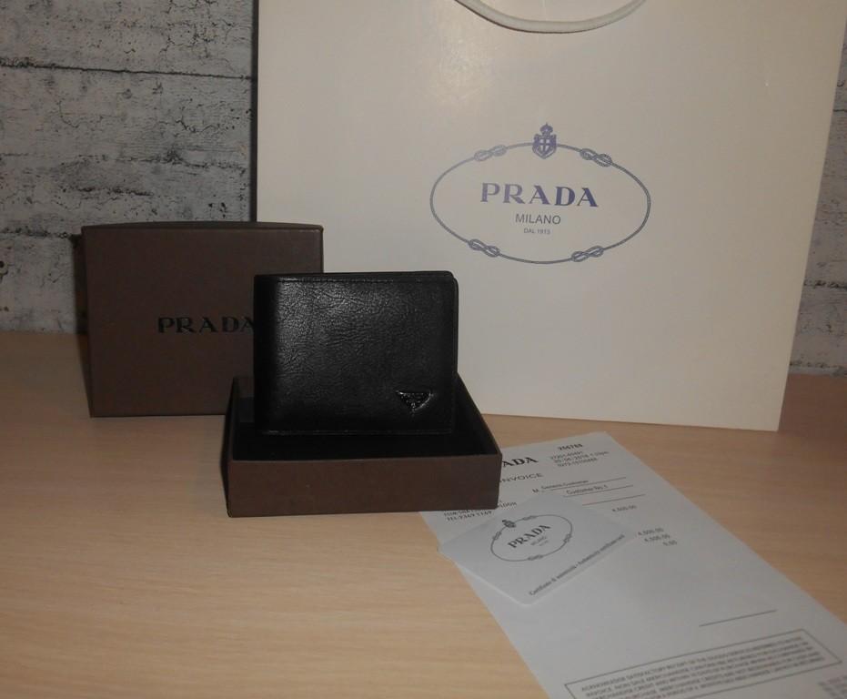 Мужской кошелек, портмоне, бумажник prada, кожа, италия фото №1