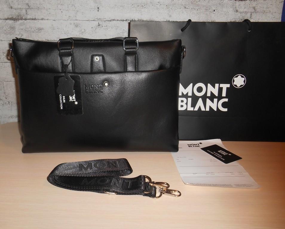 Сумка мужская, портфель mont blanc, кожа, италия фото №1