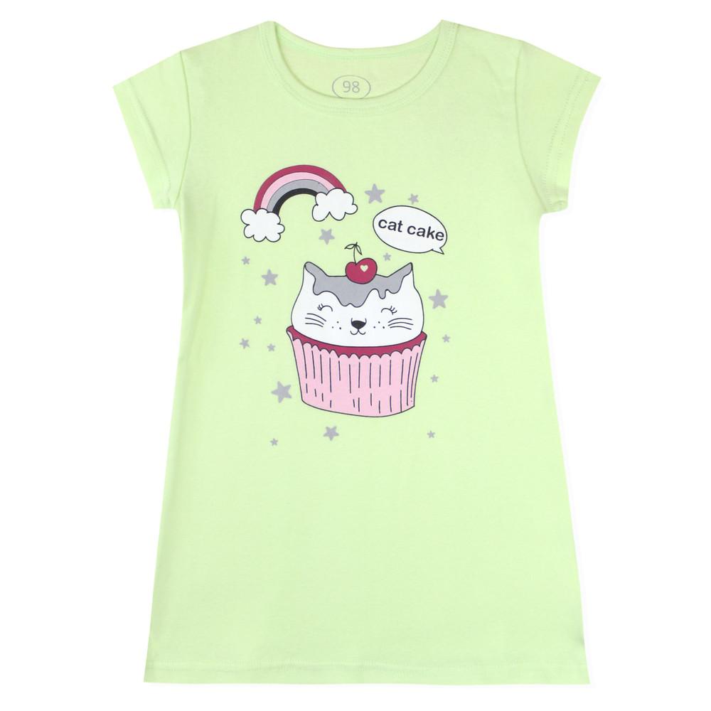 Ночная рубашка для девочки, салатовая. котик пирожное. фото №1